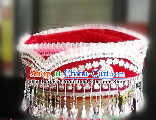 Chinese Traditional National Hat Ethnic Miao Nationality Red Hat for Women
