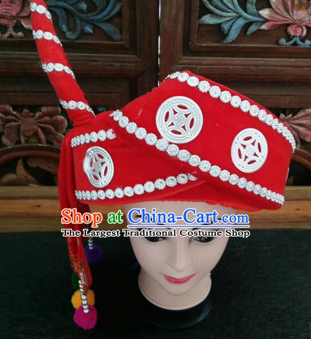 Chinese Traditional National Red Hat Ethnic Yi Nationality Hat for Men