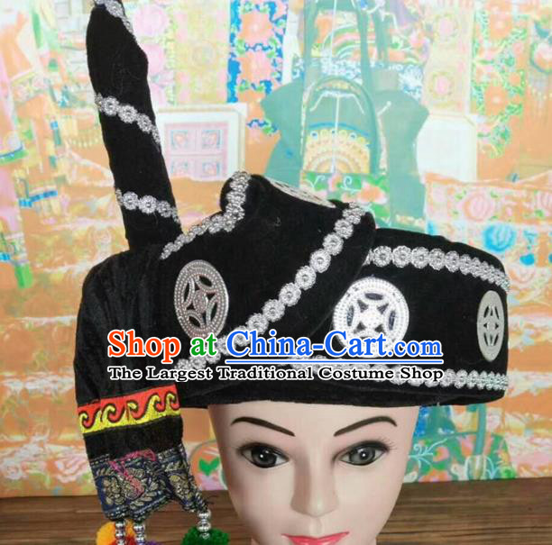 Chinese Traditional National Black Hat Ethnic Yi Nationality Hat for Men