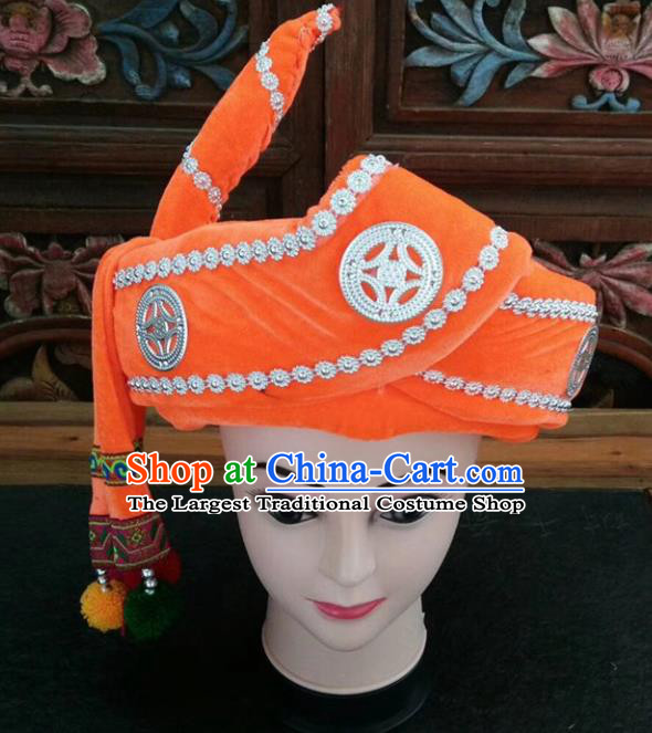 Chinese Traditional National Orange Hat Ethnic Yi Nationality Hat for Men