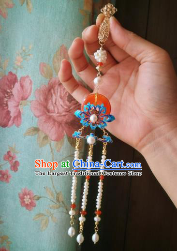 Chinese Classical Jewelry Accessories Traditional Hanfu Brooch Pearls Tassel Pendant for Women