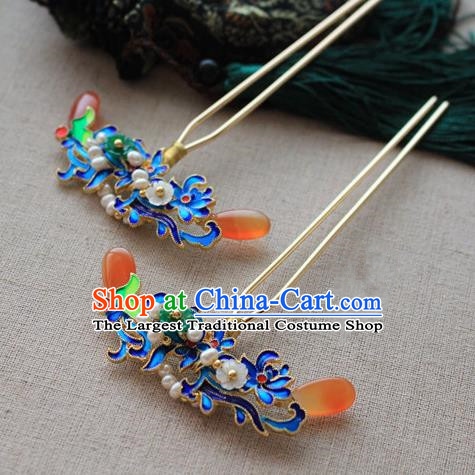 Asian Chinese Traditional Hair Accessories Ancient Hanfu Blueing Hairpins for Women