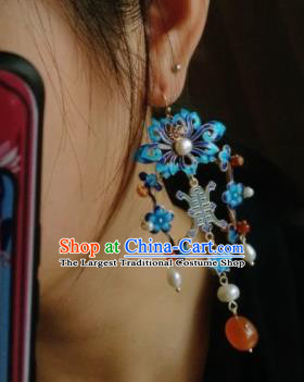 Asian Chinese Traditional Ear Accessories Ancient Hanfu Blueing Earrings for Women