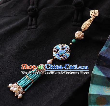 Chinese Classical Jewelry Accessories Traditional Hanfu Blueing Brooch Tassel Pendant for Women