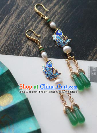 Asian Chinese Traditional Ear Accessories Ancient Hanfu Blueing Fish Earrings for Women