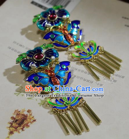Asian Chinese Traditional Hair Accessories Ancient Hanfu Blueing Hairpins Hair Sticks for Women