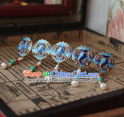 Asian Chinese Traditional Hair Accessories Ancient Hanfu Hairpins Blueing Hair Comb for Women