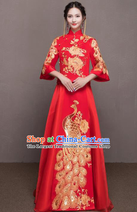 Chinese Traditional Wedding Costumes Ancient Bride Embroidered Peacock Red Xiuhe Suits for Women