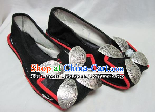 Asian Chinese Traditional Hanfu Shoes Black Cloth Shoes for Women