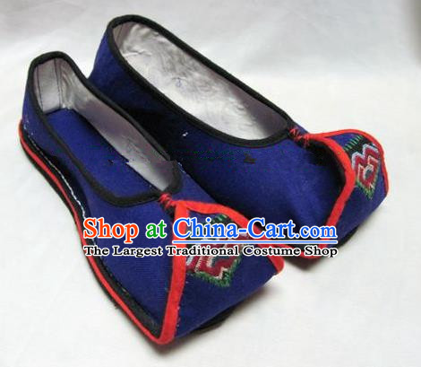 Asian Chinese Traditional Hanfu Shoes Blue Canvas Shoes Embroidered Shoes for Women