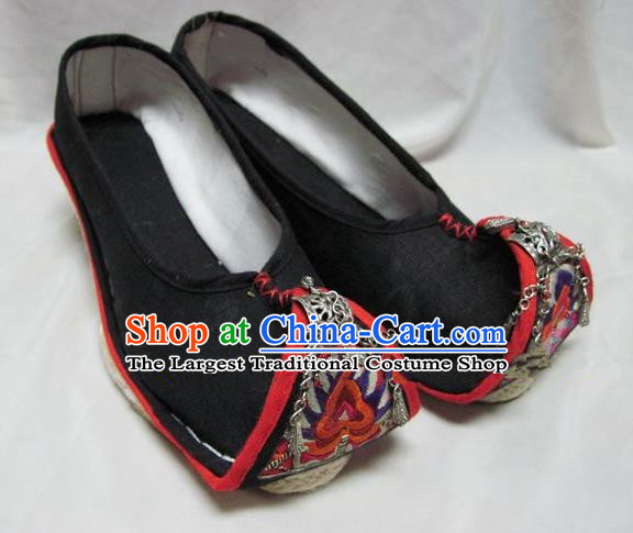 Asian Chinese Traditional Hanfu Shoes Black Embroidered Shoes for Women