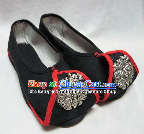 Asian Chinese Traditional Hanfu Shoes Ethnic Black Embroidered Shoes for Women
