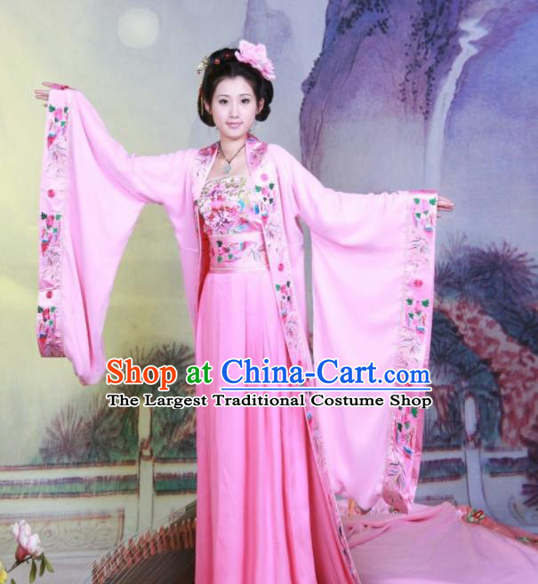 Chinese Ancient Imperial Consort Embroidered Costumes Tang Dynasty Imperial Concubine Pink Hanfu Dress for Women