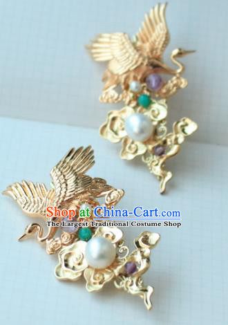 Chinese Classical Jewelry Accessories Traditional Hanfu Crane Brooch for Women