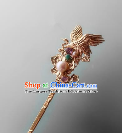 Asian Chinese Traditional Hair Accessories Ancient Hanfu Golden Crane Hairpins for Women