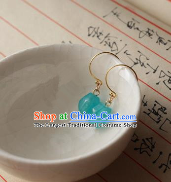 Asian Chinese Traditional Jewelry Accessories Ancient Hanfu Blue Earrings for Women