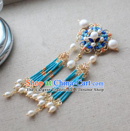 Asian Chinese Traditional Hanfu Blueing Hair Claw Ancient Palace Hairpins for Women
