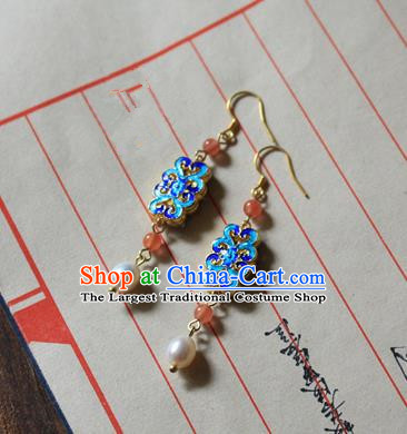 Asian Chinese Traditional Jewelry Accessories Ancient Hanfu Blueing Earrings for Women