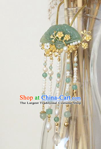 Asian Chinese Traditional Hanfu Pearls Tassel Hair Clip Ancient Palace Jade Hairpins for Women