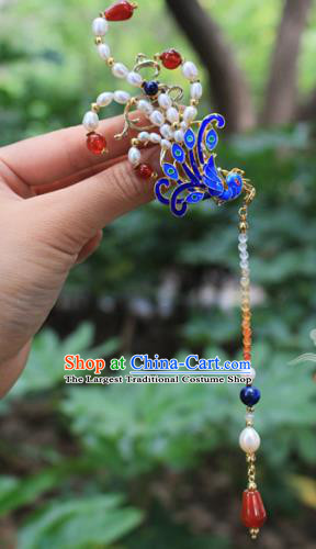 Asian Chinese Traditional Hanfu Cloisonne Phoenix Hair Clip Ancient Palace Hairpins for Women