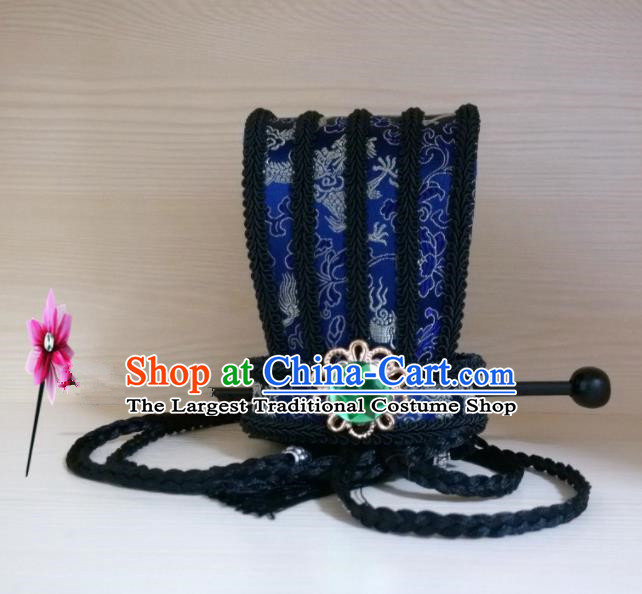 Chinese Traditional Hanfu Headdress Ancient Han Dynasty Emperor Blue Hairdo Crown for Men