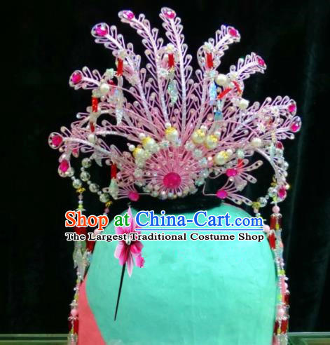 Chinese Classical Beijing Opera Hair Accessories Traditional Ancient Princess Pink Phoenix Coronet for Women