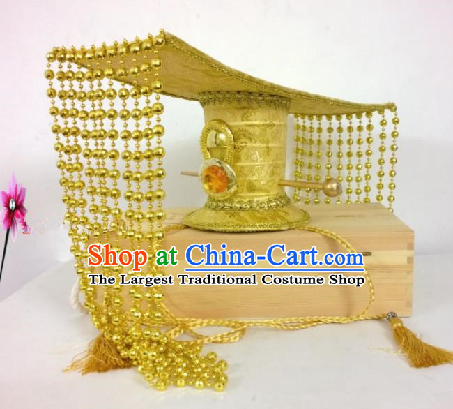 Chinese Traditional Hanfu Headdress Ancient Qin Dynasty Emperor Golden Hat for Men