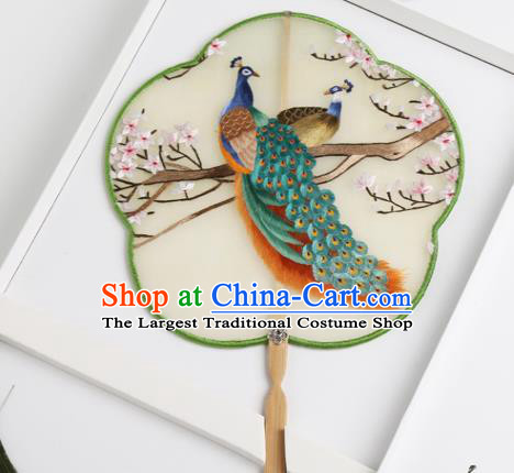 Traditional Chinese Crafts Palace Fans Silk Round Fans Ancient Princess Embroidered Peacock Fan for Women