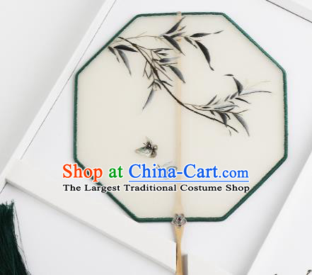 Traditional Chinese Crafts Palace Fans Silk Round Fans Ancient Princess Embroidered Bamboo Fan for Women