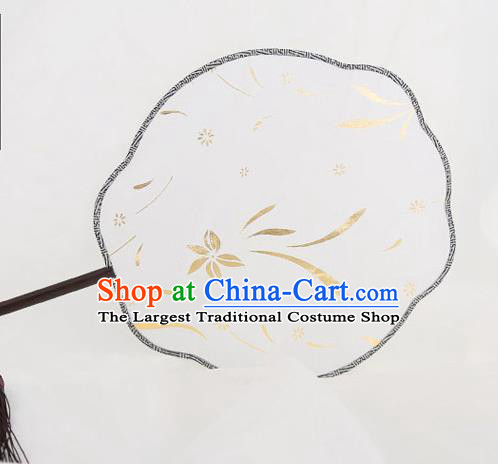 Traditional Chinese Crafts Palace Silk Fans Round Fans Ancient Princess Gilding Fan for Women