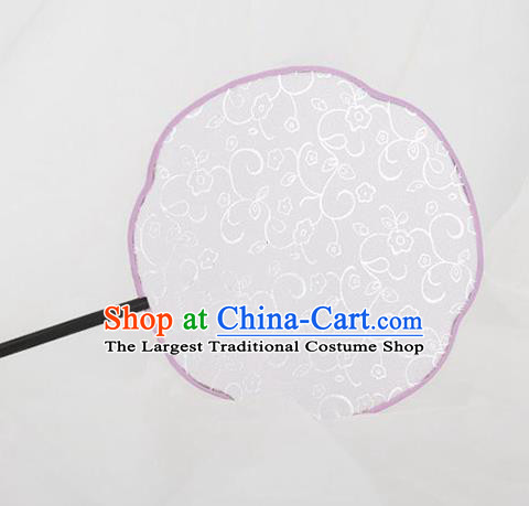 Traditional Chinese Crafts Palace White Silk Fans Round Fans Ancient Princess Gilding Fan for Women