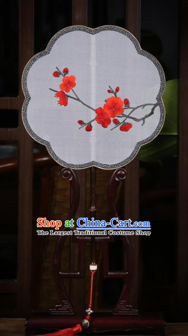 Traditional Chinese Crafts Palace Fans Silk Round Fans Ancient Embroidered Red Wintersweet Fan for Women