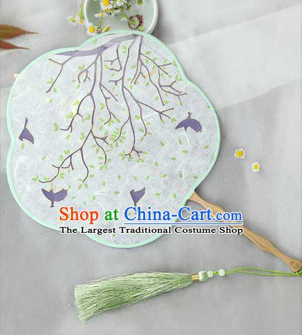 Traditional Chinese Crafts Palace Fans Printing Fans Ancient Silk Fan for Women