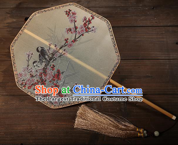 Traditional Chinese Crafts Palace Fans Printing Wintersweet Round Fans Ancient Silk Fan for Women