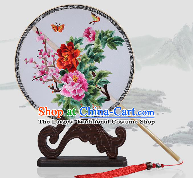 Traditional Chinese Crafts Palace Fans Embroidered Peony Round Fans Ancient Silk Fan for Women