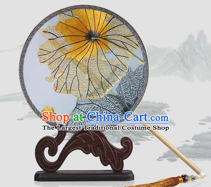 Traditional Chinese Crafts Palace Fans Embroidered Lotus Leaf Round Fans Ancient Silk Fan for Women