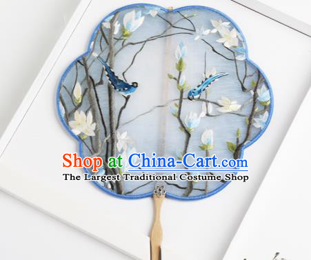 Traditional Chinese Crafts Palace Fans Blue Round Fans Ancient Princess Embroidered Magnolia Fan for Women