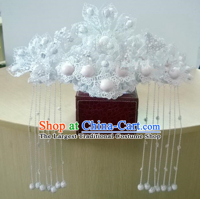 Chinese Classical Wedding Hair Accessories Traditional Ancient Bride White Phoenix Coronet for Women