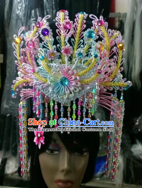 Chinese Classical Princess Hair Accessories Traditional Ancient Beijing Opera Colorful Phoenix Coronet for Women