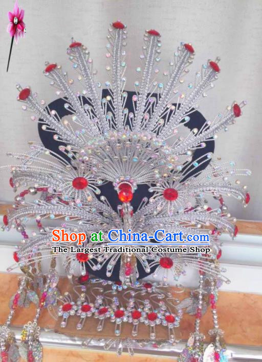 Chinese Classical Princess Hair Accessories Traditional Ancient Beijing Opera White Phoenix Coronet for Women