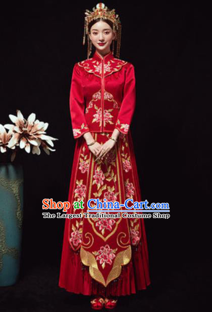 Chinese Traditional Red Xiuhe Suits Ancient Bride Embroidered Peony Wedding Dress for Women