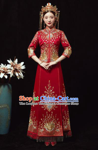Chinese Traditional Wedding Costumes Xiuhe Suits Ancient Bride Embroidered Dress for Women