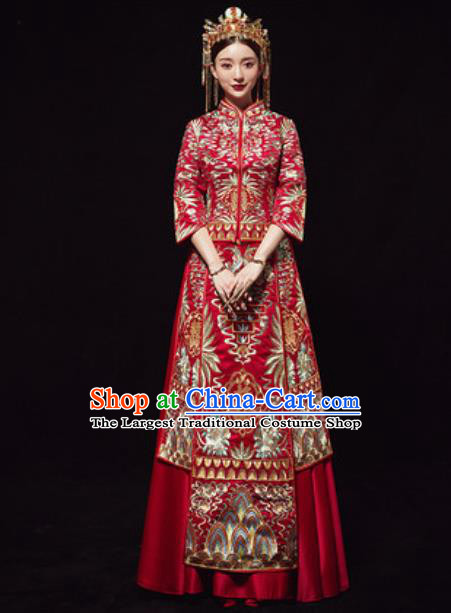 Chinese Traditional Wedding Costumes Embroidered Red Xiuhe Suits Ancient Bride Trailing Dress for Women