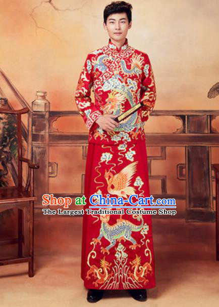 Chinese Traditional Wedding Embroidered Dragon Costumes Ancient Bridegroom Toast Clothing for Men