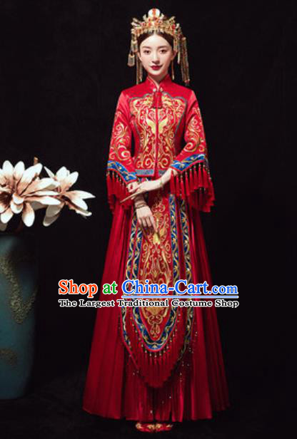 Traditional Chinese Wedding Phoenix Costumes Ancient Bride Embroidered Dress for Women