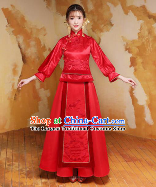 Traditional Chinese Wedding Bride Costumes Ancient Embroidered Red Dress for Women