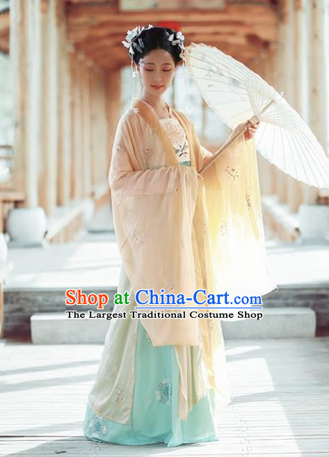 Chinese Ancient Imperial Consort Hanfu Dress Traditional Tang Dynasty Royal Embroidered Costumes for Women