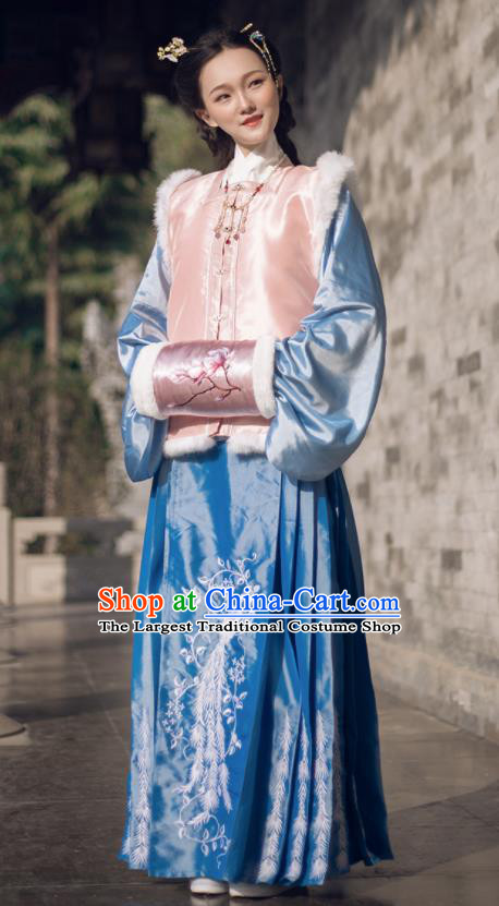 Chinese Ancient Ming Dynasty Princess Winter Costumes Traditional Embroidered Hanfu Dress for Women