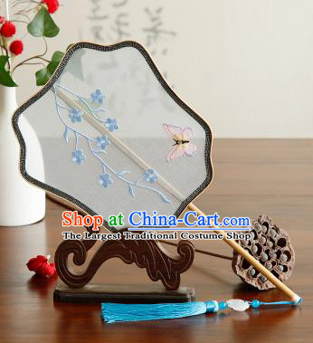 Traditional Chinese Crafts Palace Fans Embroidered Blue Flowers Butterfly Fans Ancient Organza Fan for Women