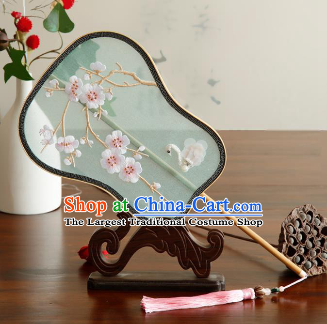 Traditional Chinese Crafts Palace Fans Embroidered Wintersweet Fans Ancient Palm Leaf Fan for Women